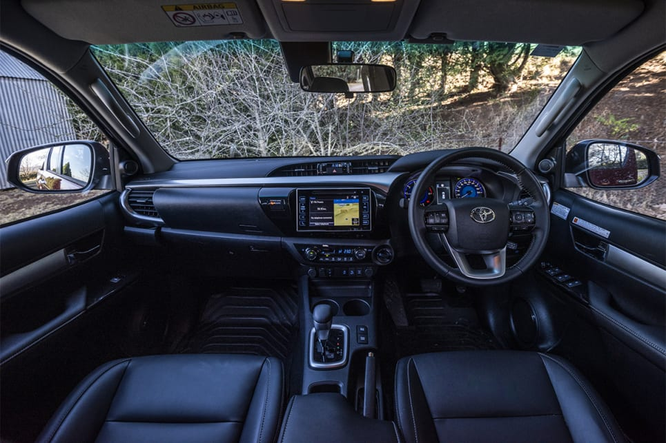 The HiLux's cabin looks okay, but the way its designed actually eats into the usable space a lot up front.