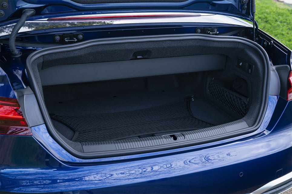 The Cabriolet delivers the lowest luggage capacity of the trio, at 375 litres. (45 TFSI Cabriolet variant pictured)