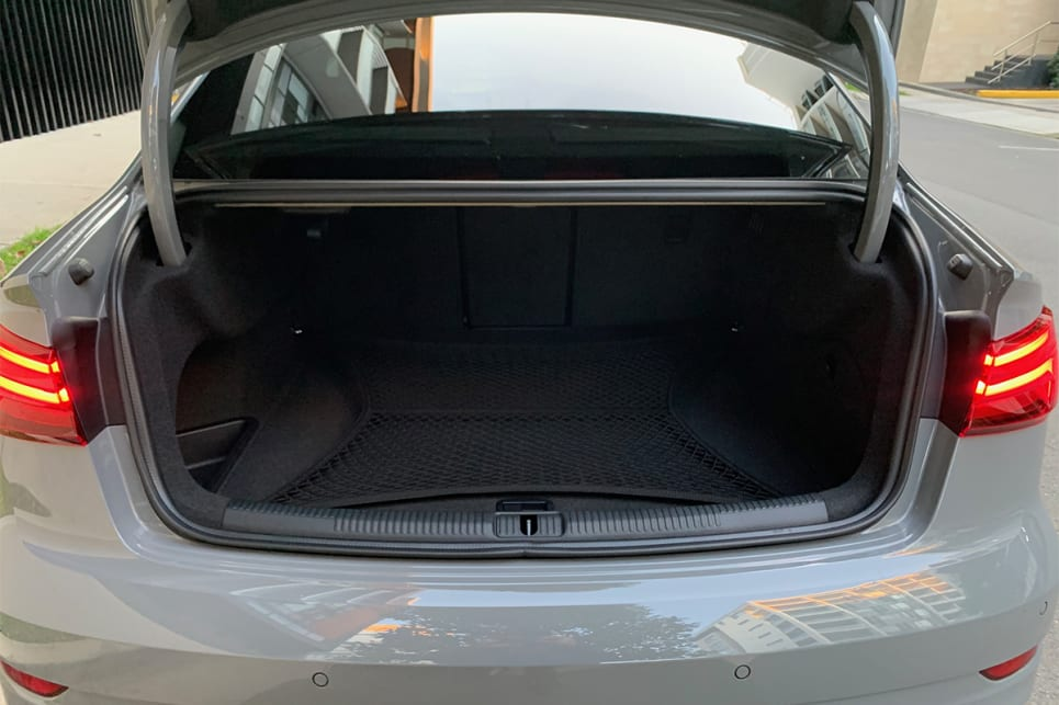 Boot space in the RS3 sedan is rated at 315 litres.