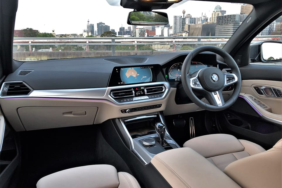 The 330i Touring shows off BMW's new-generation cockpit, complete with a virtual (digital) instrument cluster, and large integrated media display.