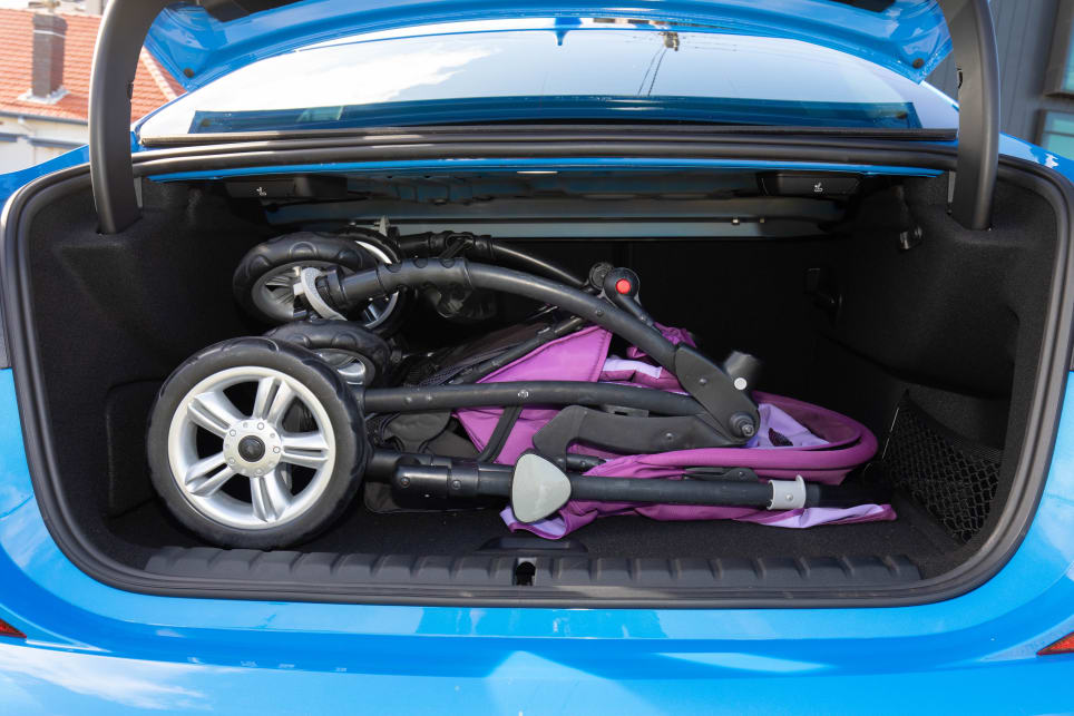 The boot will fit the bulky CarsGuide pram, with some limited extra space.