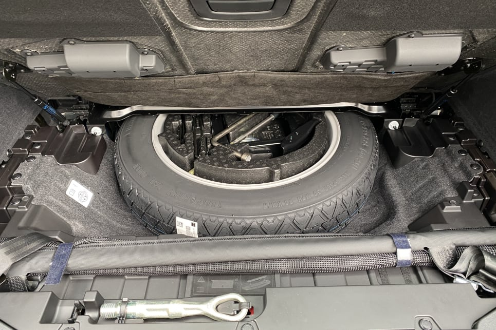 There is a spare wheel under the boot.