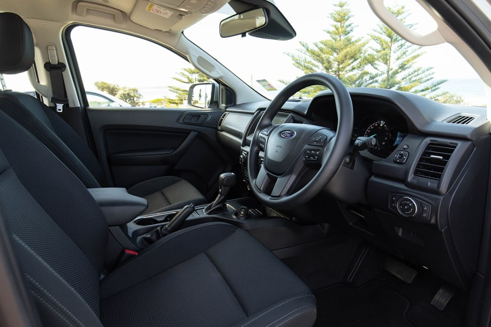 The seats are fabric and the steering wheel isn't leather, but strangely it's not disappointing because that's exactly what you're expecting from a Ford Everest. (image: Dean McCartney)