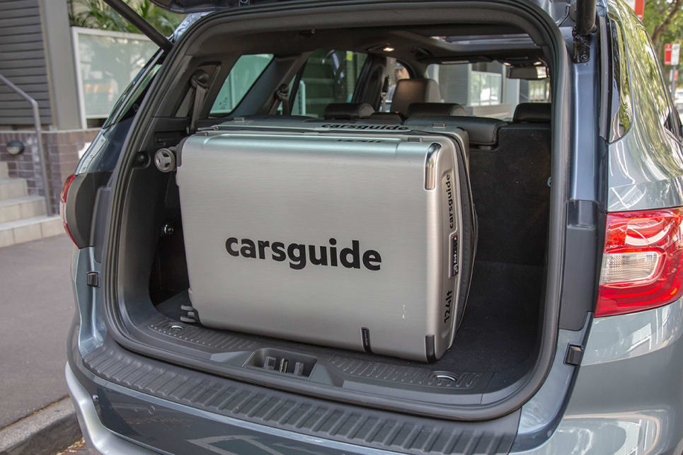 Easily enough to swallow the largest 124-litre suitcase from the 'CarsGuide' three-piece set, with room to spare.