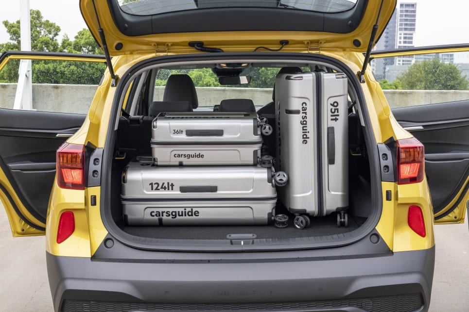 The carsguide luggage is a snug fit in the boot of the Seltos S.