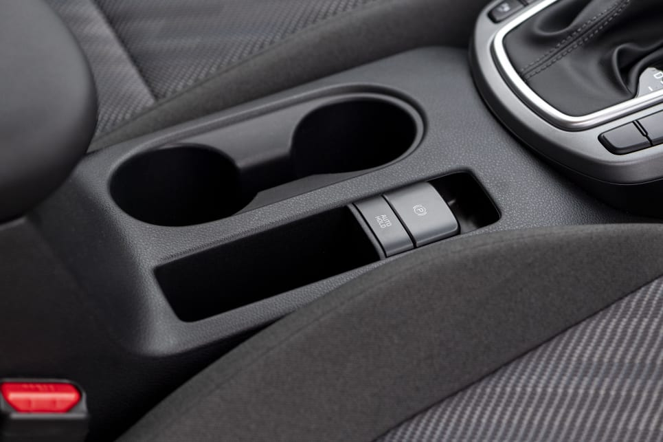 There are two cup holders in the front.