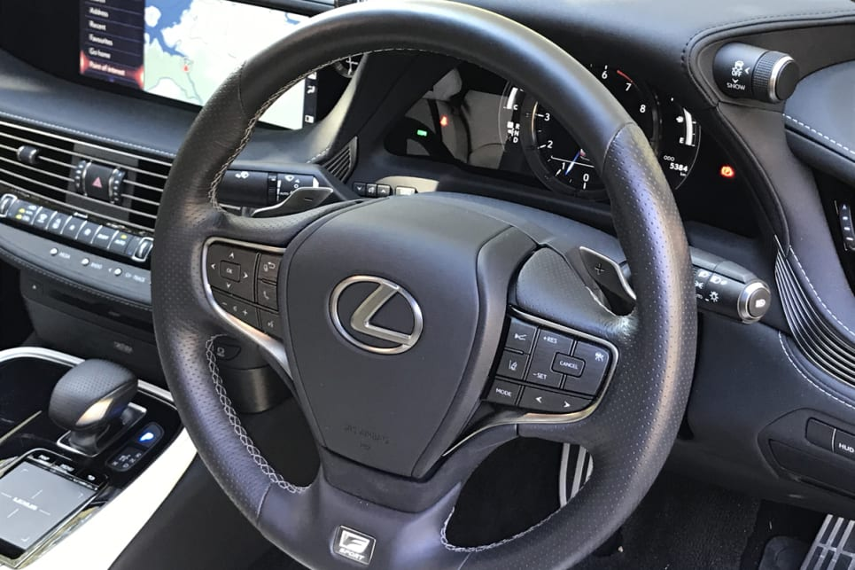The F-Sport comes with a heated, perforated-leather steering wheel.