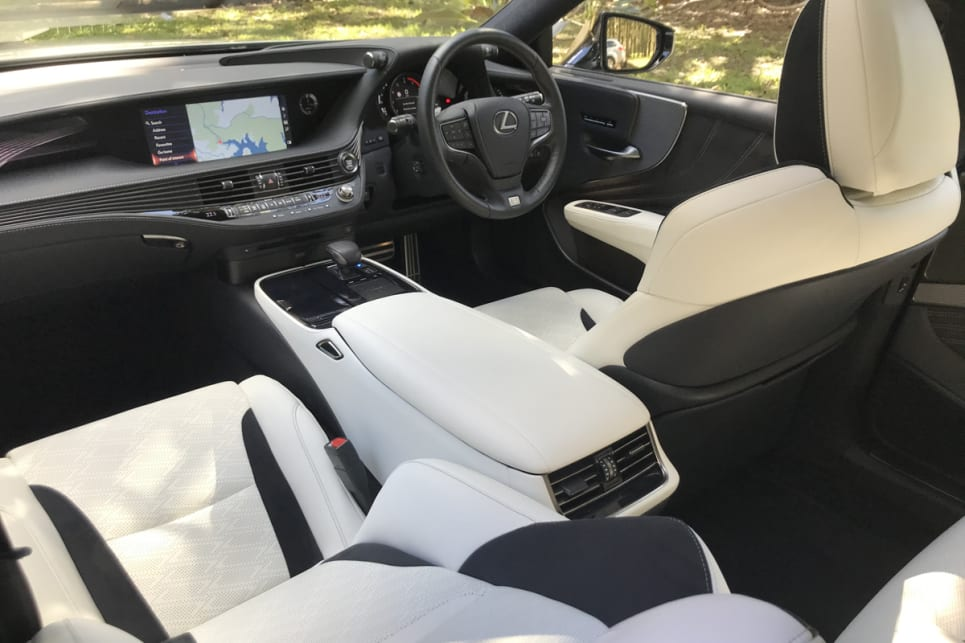 The interior of the LS500 F Sport reflects the exterior design.