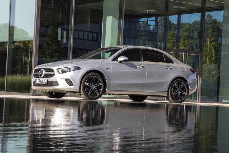Mercedes' press material doesn't state capacity figures for the A 250 e hatch and sedan, but the difference is said to be minimal. (sedan pictured)