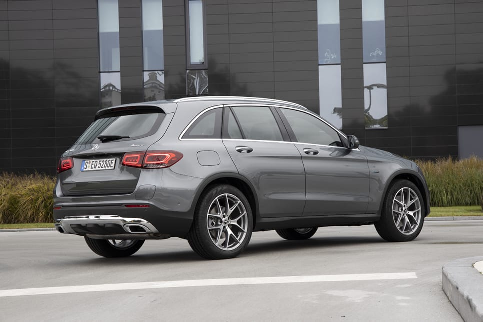 The GLC 300 e SUV uses the same drivetrain elements as the C and E sedans it shares its platform with, but adds 4Matic all-wheel drive.