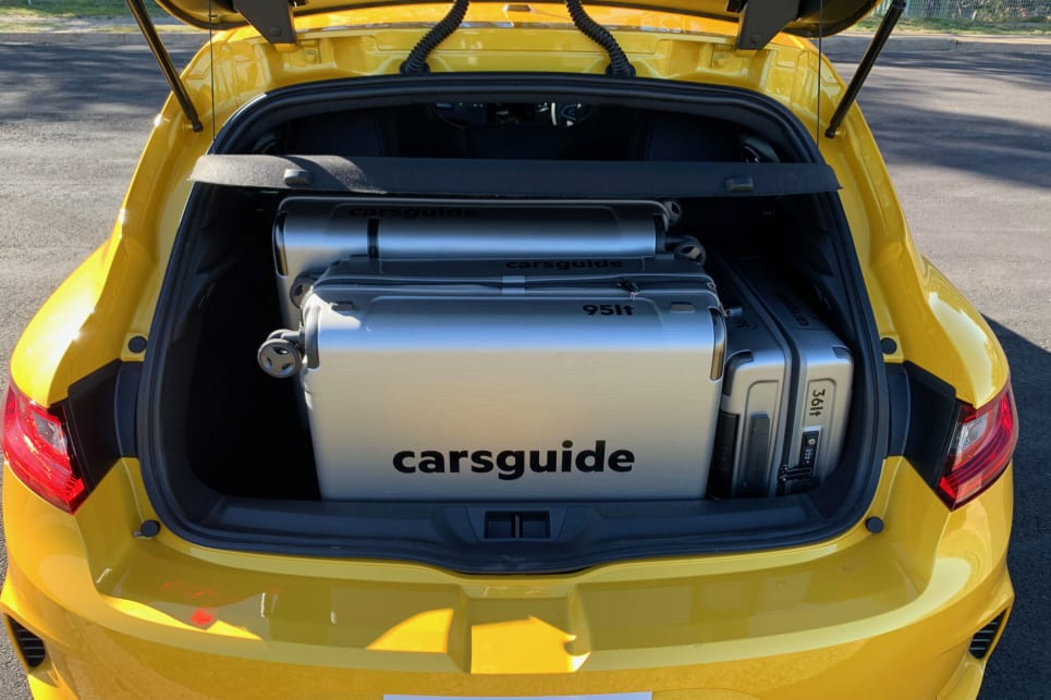 The car fit all three CarsGuide suitcases (124L, 95L and 36L) with room to spare.