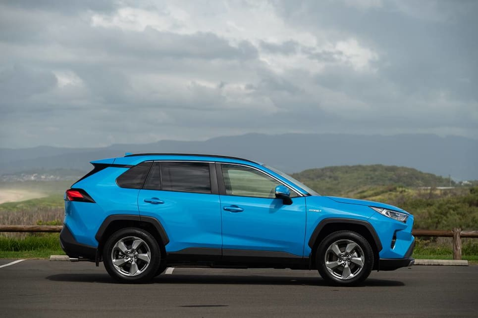 The RAV4 is lower and wider.