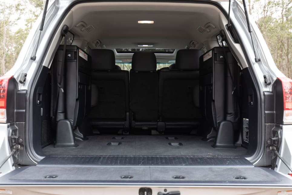 No cargo capacity figure is officially listed for when the second- and third-row seats are stowed away.