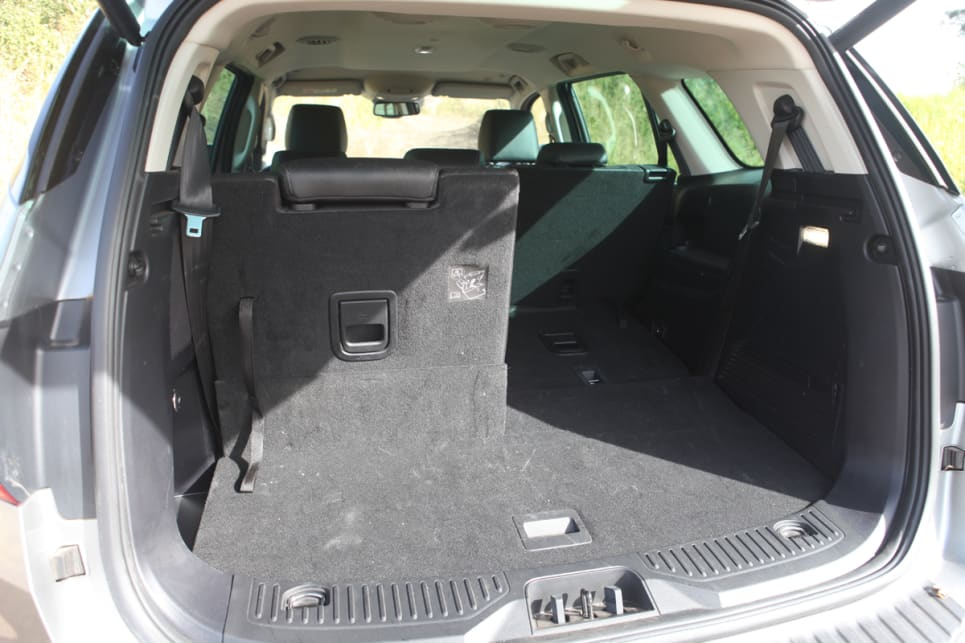 Third-row seats in the Trend can be manually deployed or stowed away.