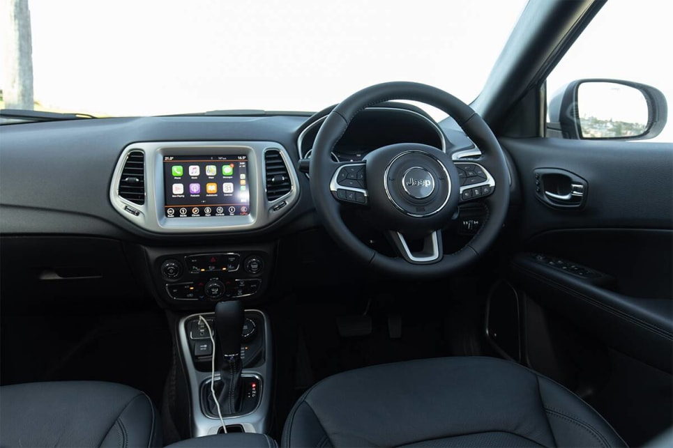 The inside of the Compass S-Limited plays on Jeep's reputation for tough and rugged cars.
