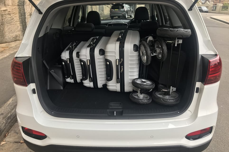 Fold the third row down and 605 litres opens up, fitting an extra suitcase and the jumbo size CarsGuide pram.