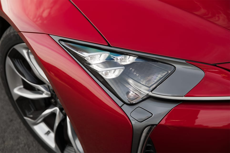 The LC 500h has LED headlights with cornering lights.