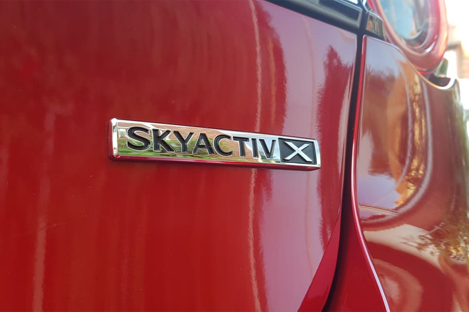 A Skyactiv-X badge replaces the regular models' Skyactiv-G.