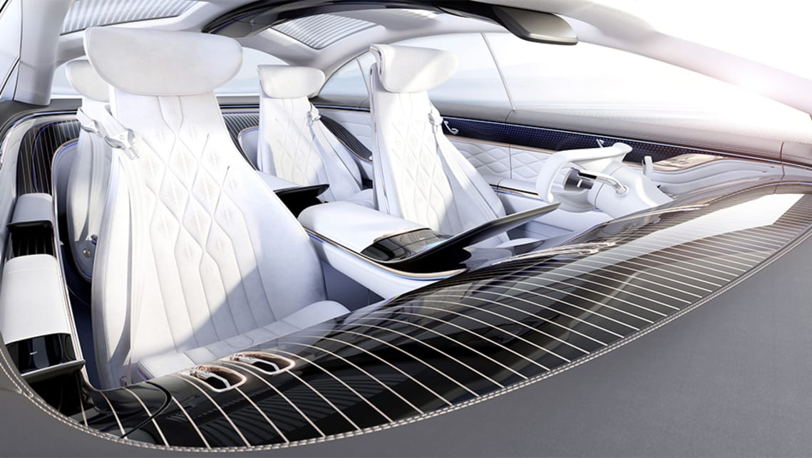 The white seats are clad in DINAMICA microfiber made from recycled PET bottles while the roof lining is partly made of ocean waste plastic.