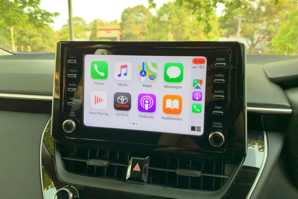 The 8.0-inch media screen supports Apple CarPlay and Android Auto.