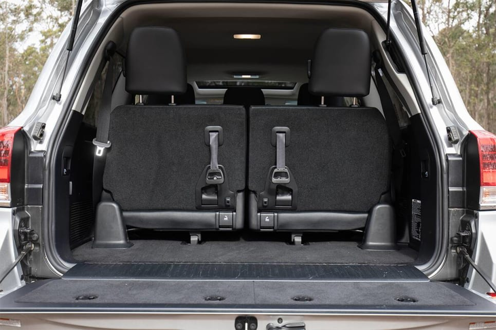 Toyota doesn't provide a cargo capacity figure when the third row is in place, but as you can see there's not a lot of space.