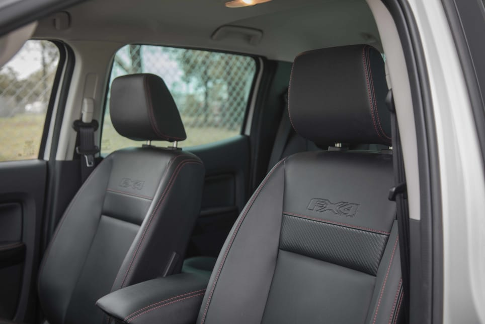 There FX4 features red stitching on the dashboard and seats.