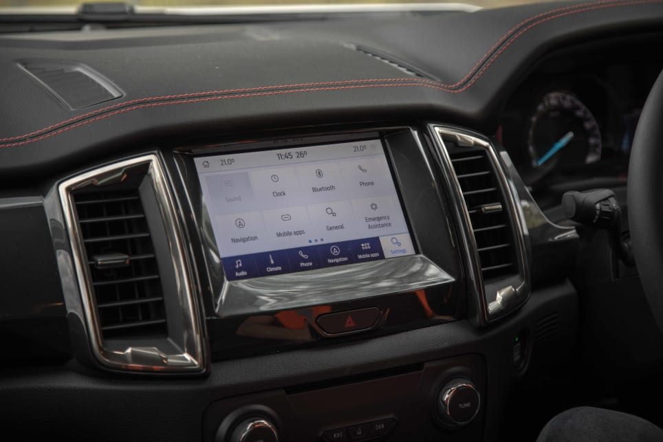 Multimedia is controlled by an 8.0-inch touch screen.