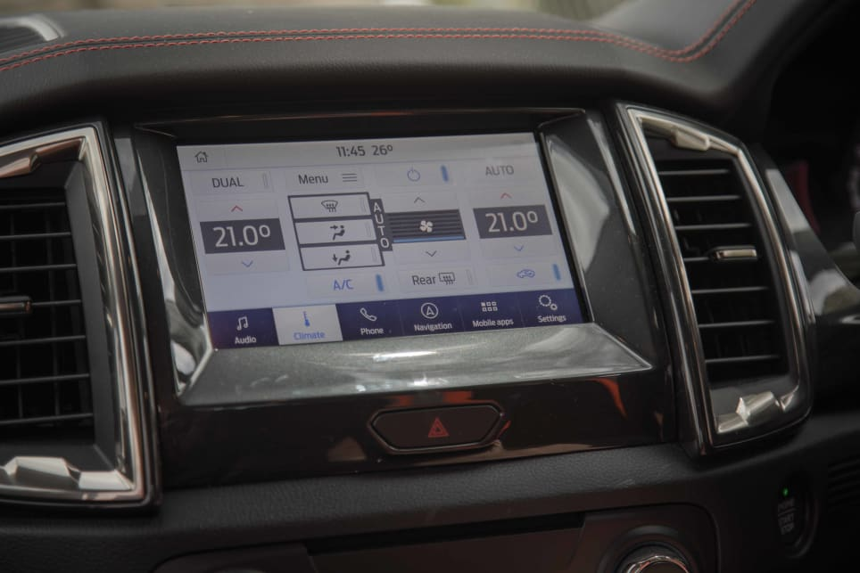 The screen also shows temperature for the climate control air conditioning.