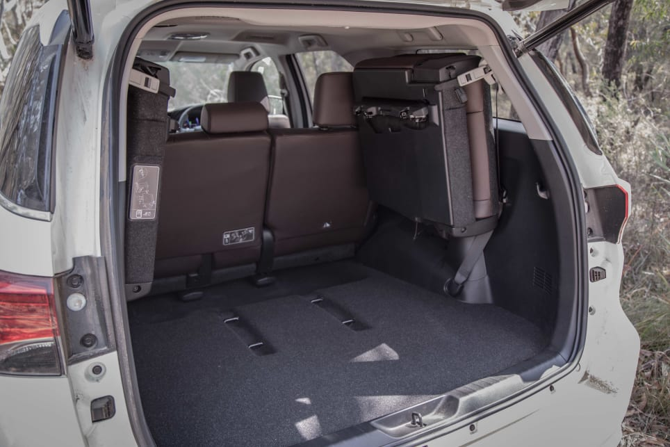 The folded up third row seats chew up plenty of practical space in the cargo.