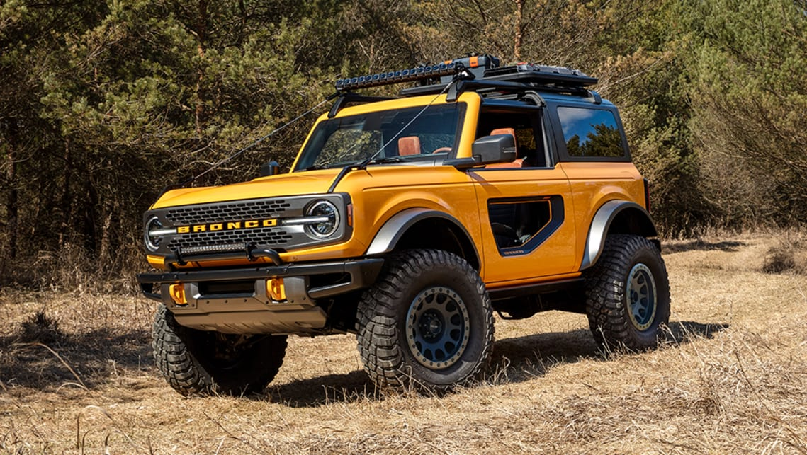New Ford Bronco 2021 Detailed Jeep Wrangler Rival Emerges Alongside Renegade Fighting Bronco Sport Car News Carsguide