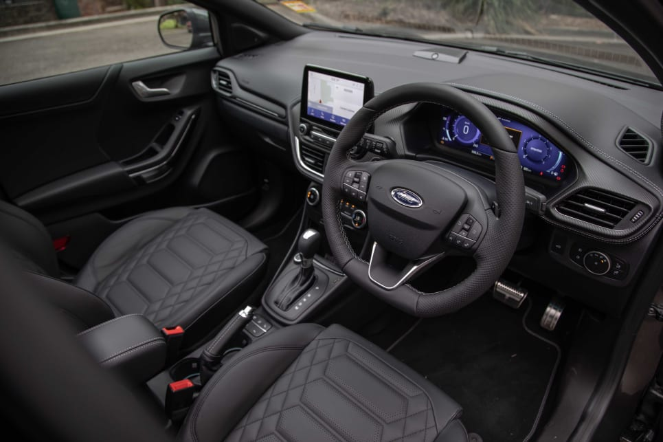 Inside the ST-Line V feels a step above the rest with its leather upholstery (pictured: Puma ST-Line V).