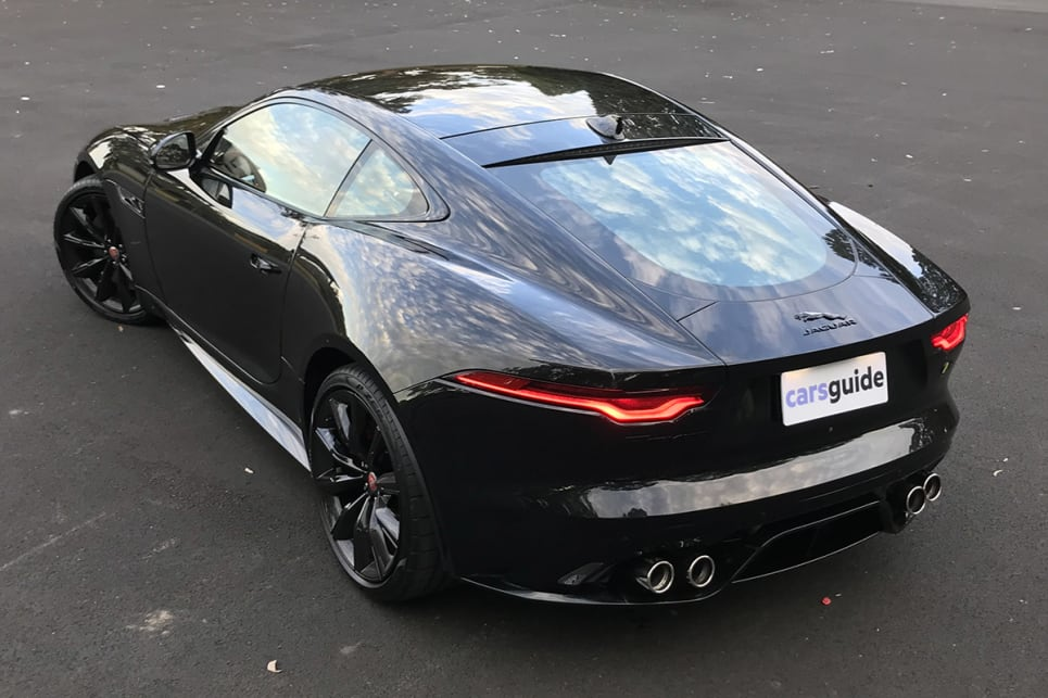 Although it kicked off as a roadster, a coupe version of the F-Type was always part of the plan.20-inch alloy wheels, racy red brake calipers. (image: James Cleary)