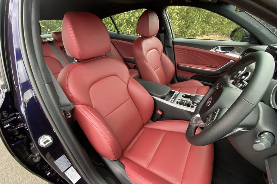 The front leather seats are heated and ventilated.