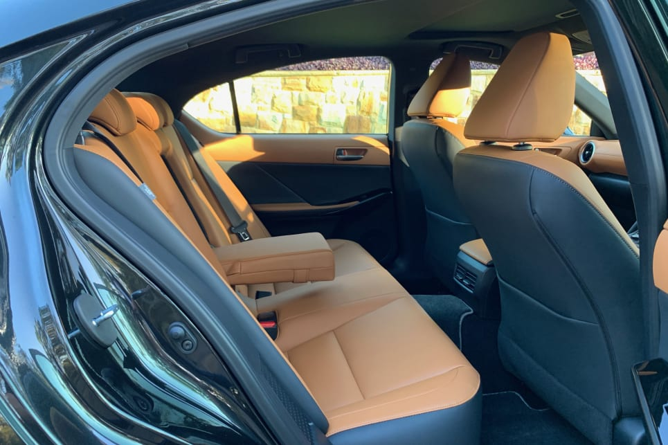 There are five seats in the Lexus IS (pictured: IS300h Luxury).