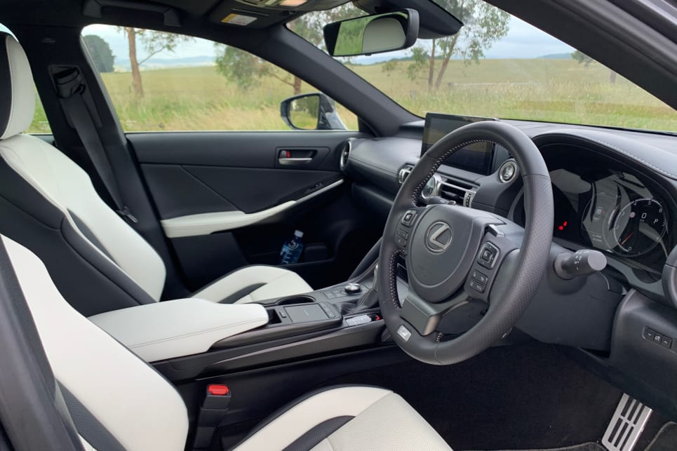 F Sport models feature sports front seats with cooling (pictured: IS350 F Sport).