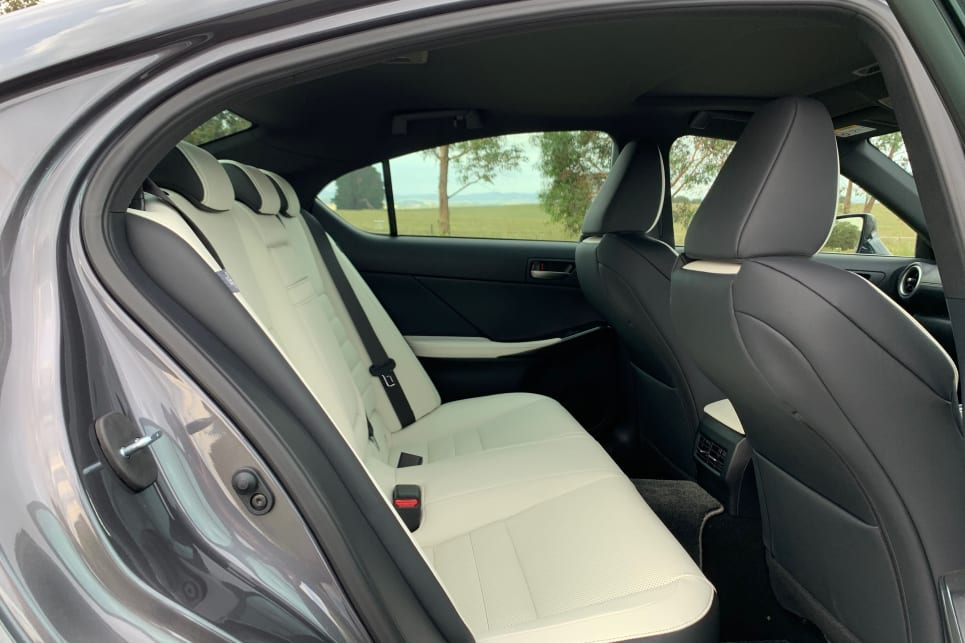 There are two ISOFIX anchorages in the back seat (pictured: IS350 F Sport).