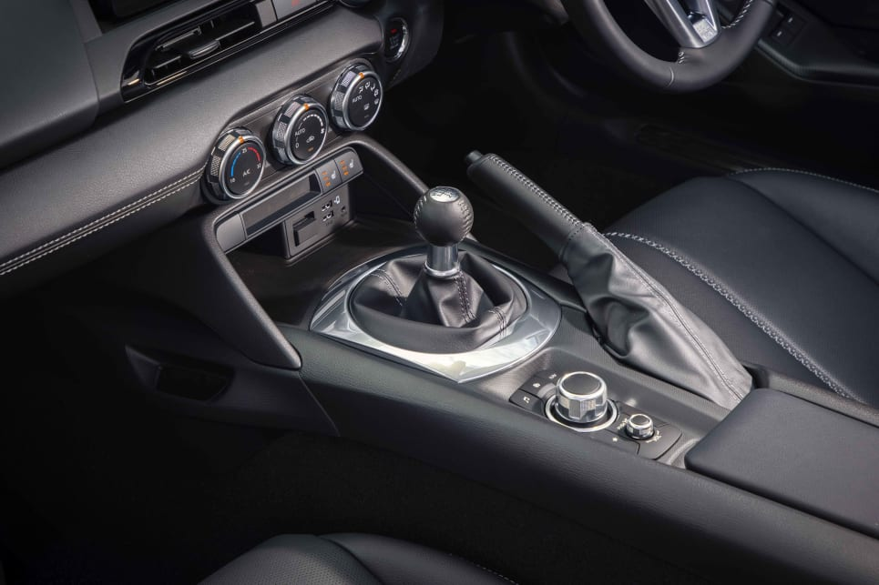 The GT RS also features black leather upholstery on its gear selector and handbrake.