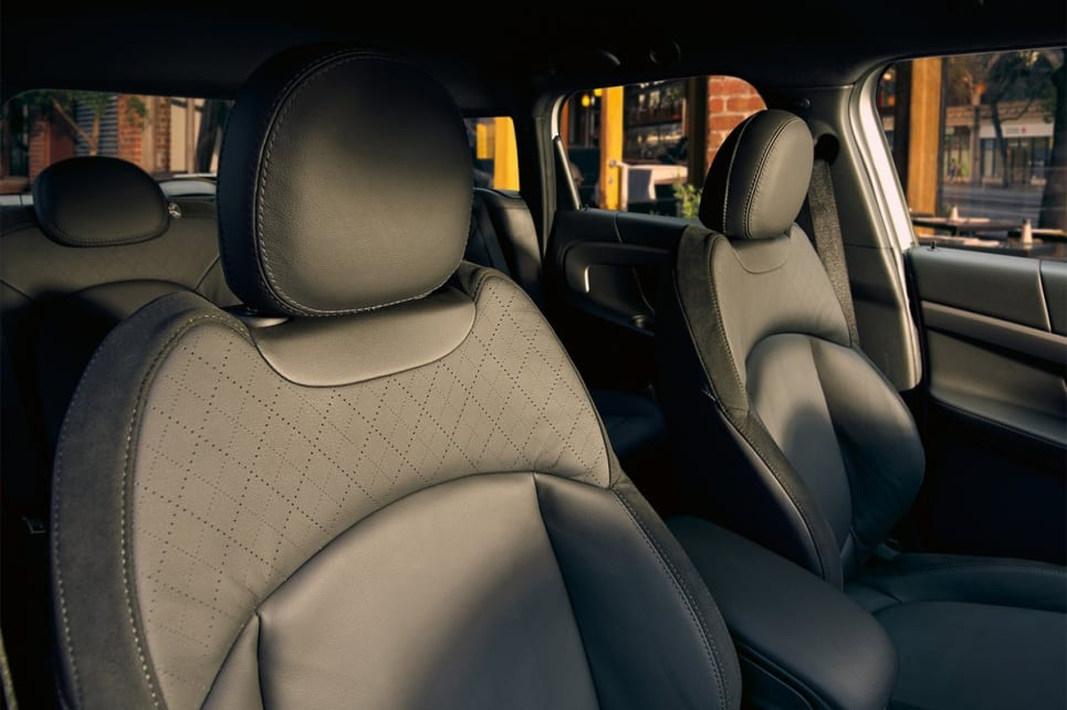 "The front seats are what Mini calls ""Leather Cross Punch Sports"" seats."