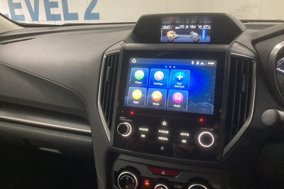 There's an 8.0-inch touchscreen with Apple CarPlay and Android Auto.