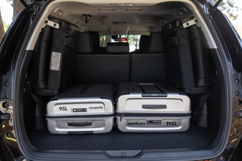 The cargo capacity with the third row folded away is 716 litres (pictured: Fortuner GXL 2021).