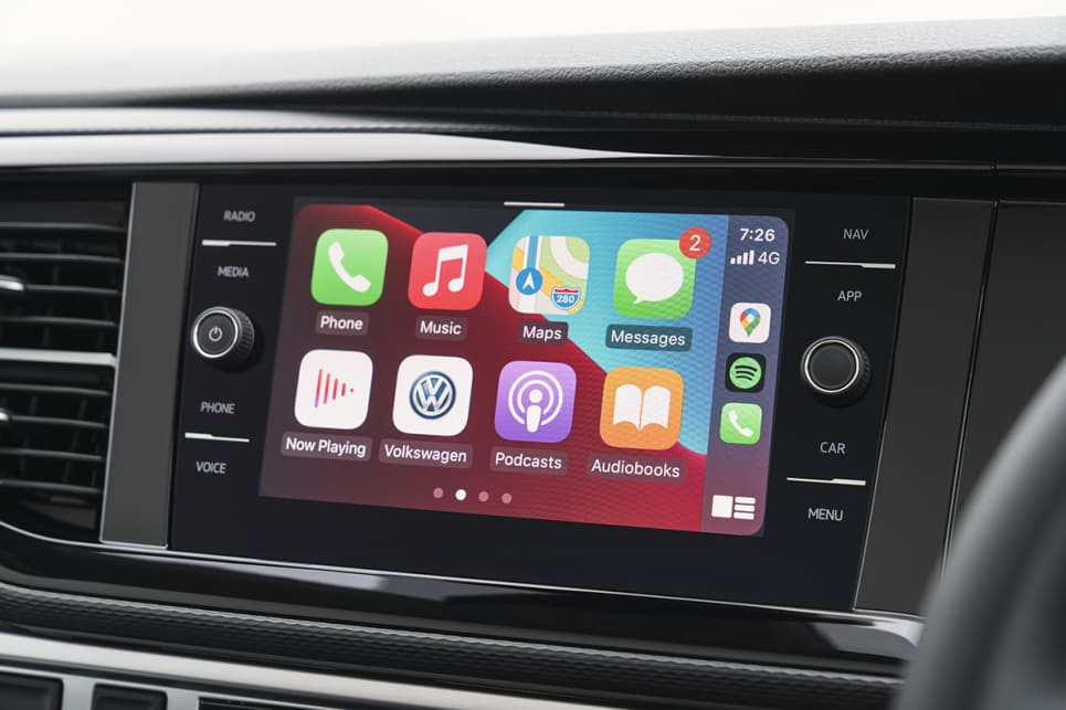 The 8.0-inch touchscreen features Apple CarPlay and Android Auto.