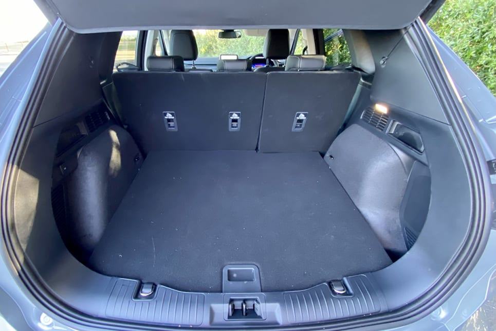 With the rear seats in place, cargo capacity is rated at 412 litres.