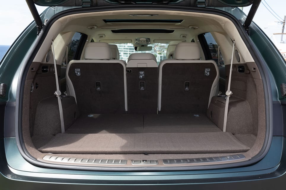 With the third row down, boot space is rated at 727 litres.