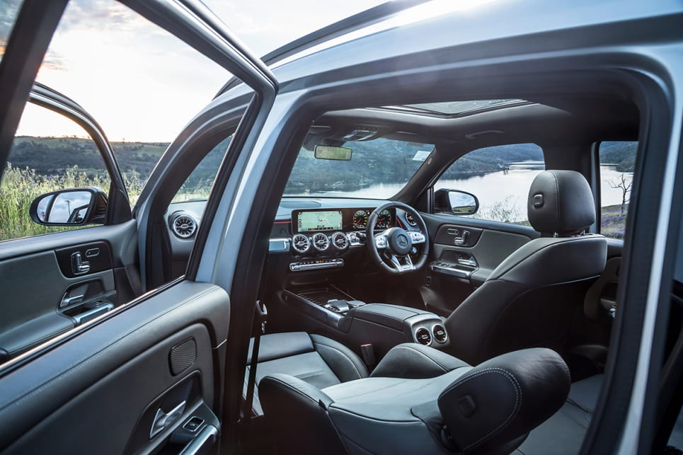 Lugano leather upholstery covers the seats and armrests.