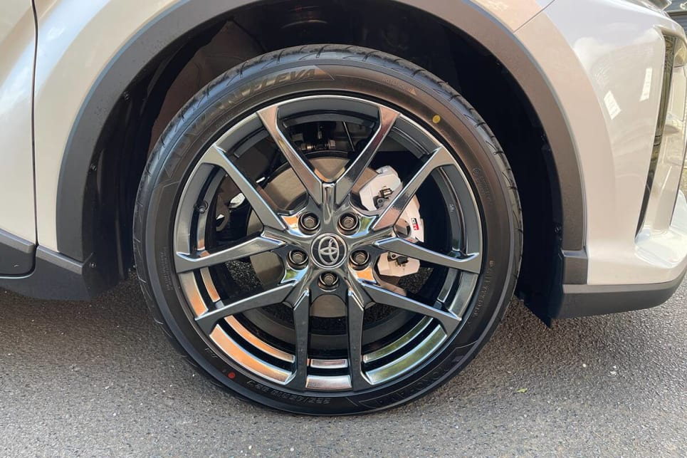 The GR Sport gets a unique set of (very shiny) dark-chrome 19-inch alloy wheels.