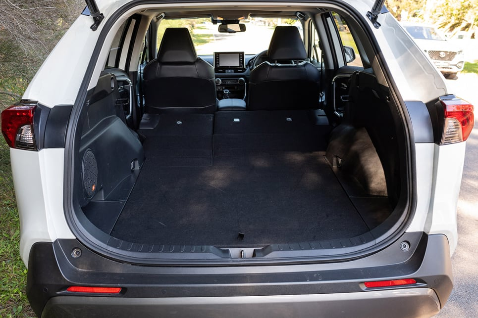 The RAV4's rear seats can be folded flat. (image credit: Rob Cameriere)