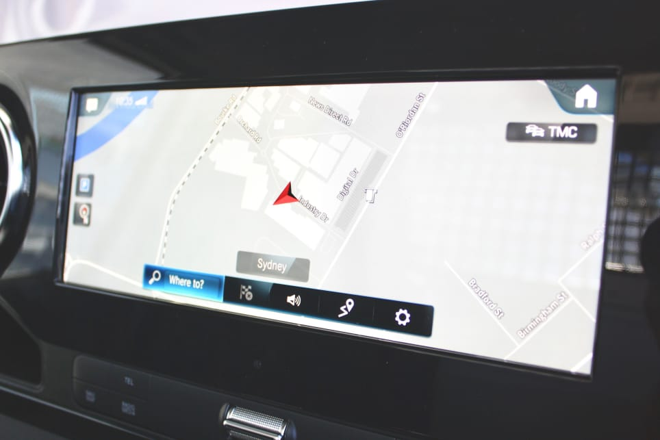 The sat nav equipped 10.25-inch MBUX media screen dominates the middle part of the cabin with its crisp display and big colours.