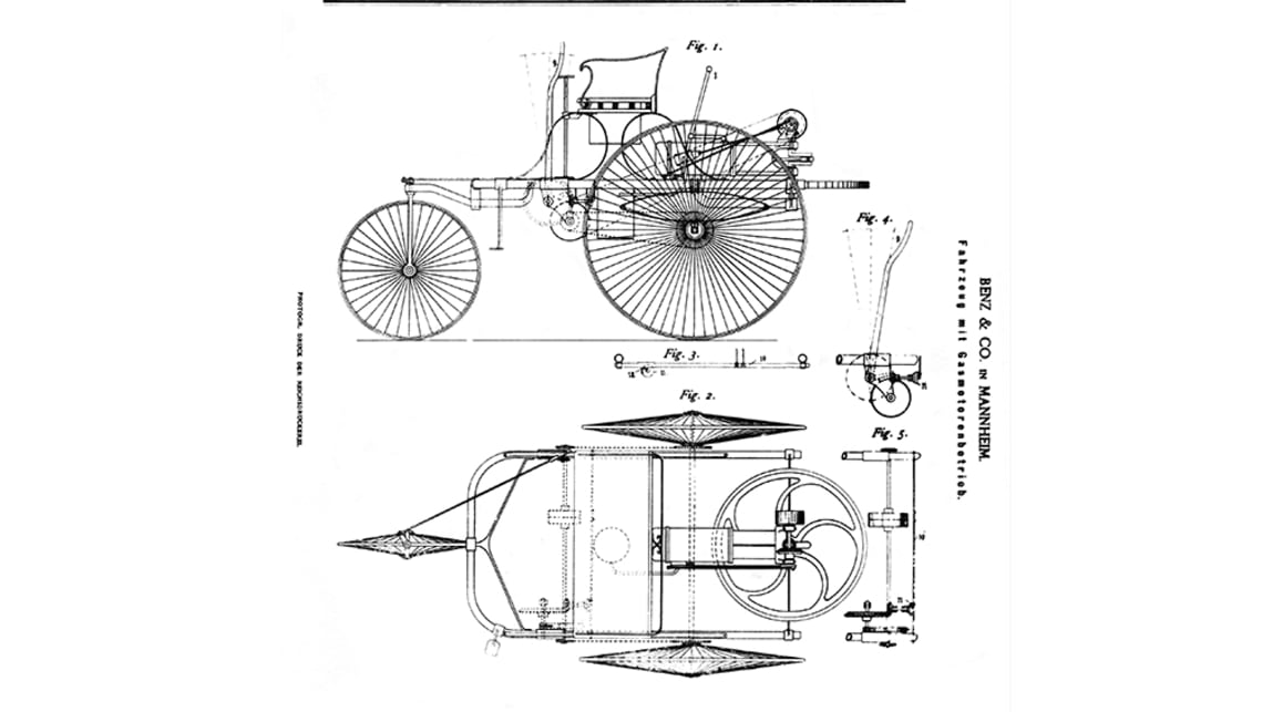 Benz 1886 patent - the car's birth certificate.