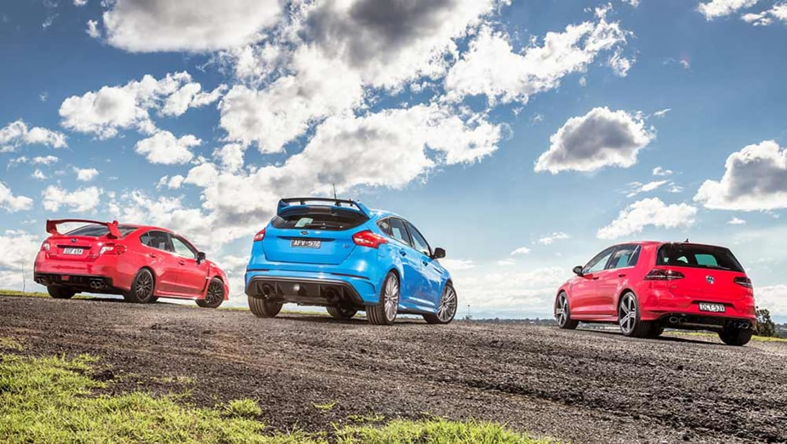 2016 Volkswagen Golf R, Ford Focus RS and Subaru WRX STI. Picture credit: Thomas Wielecki.