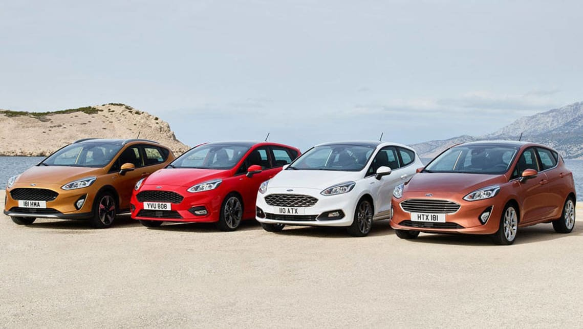 2018 Ford Fiesta (L-R); Active, ST-Line, Vignale and Titanium